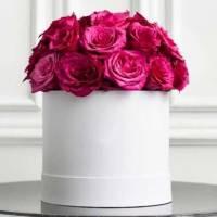 17 розовых роз в коробке R565