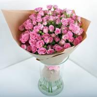 Букет 15 розовых кустовых роз R529